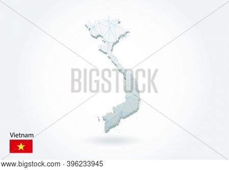 Vector Polygonal Vietnam Map. Low Poly Design. Map Made Of Triangles On White Background. Geometric
