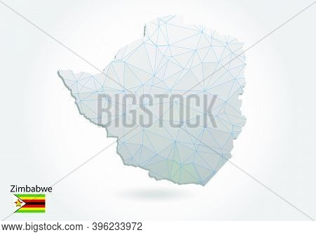 Vector Polygonal Zimbabwe Map. Low Poly Design. Map Made Of Triangles On White Background. Geometric