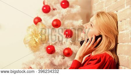 Wishing Everyone Merry Christmas. Christmas Wishes Concept. Woman Pretty Peaceful Dreamy Face Hold S