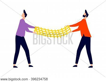 Men Stretched Out Trampoline Net, Rescue From Falling From Height Concept, Cartoon Vector Illustrati