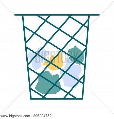 Waste Basket Cartoon Vector Illustration Isolated Icon. Trash Bin With Junk