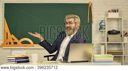 School Teacher Programming Laptop. Learn Programming Language. Handsome Man Use Modern Technology. D