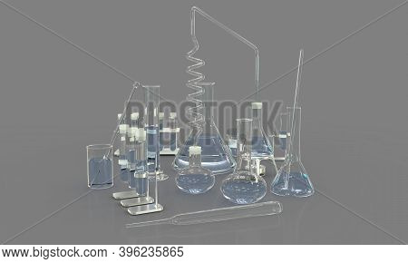 3d Illustration Of Objects - Laboratory Proofs With Various Biochemistry Glassware With Water Isolat