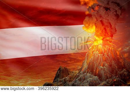 Big Volcano Blast Eruption At Night With Explosion On Austria Flag Background, Problems Of Eruption