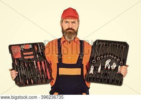 Handyman Concept. Professional Equipment. Custom Woodworkers. Set Of Tools. Screwdrivers Set. Man Ca