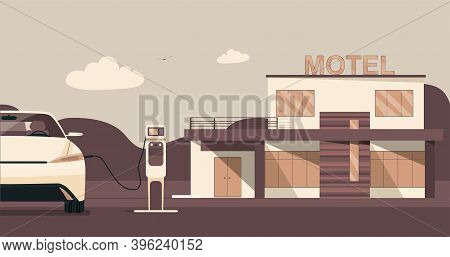 Modern Motel With Electric Car Parking And Charging Stations. Vector Flat Style Illustration.