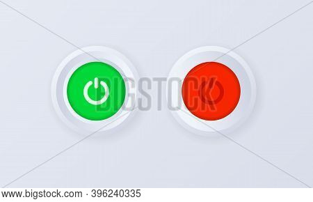 Power On Button Icon Set. Button, Sign, Badge In 3d Style. Power Off. Shut Down Button Or Power. Vec