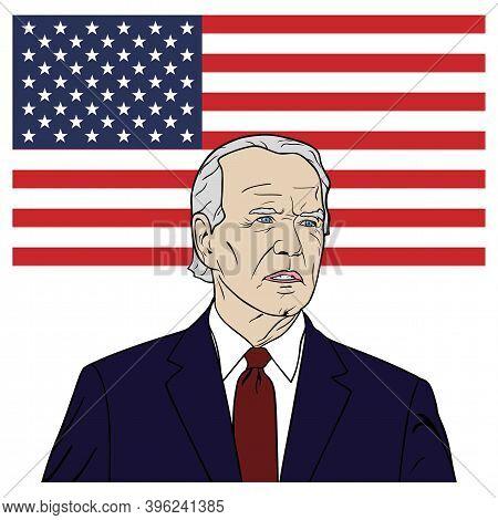 President Of Usa, Joe Biden Portrait Cartoon, Flat Design, Pop Art Design, Vector, Illustration. Was