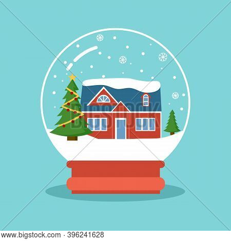 Christmas Snowball Globe With House, Snowflakes And Christmas Trees Inside. Merry Christmas Concept