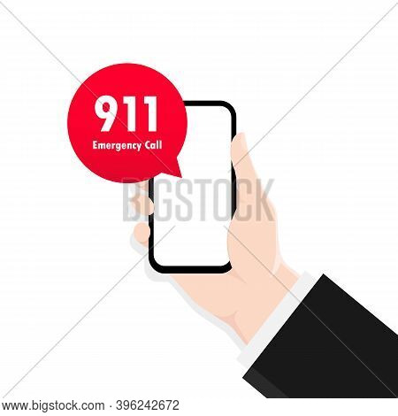 911 Smartphone In Flat Style. First Aid. Call Icon Vector. Hand Holding Smartphone. Vector Illustrat