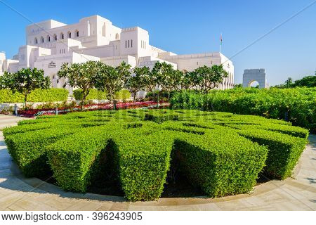 Muscat, Oman, December 3, 2016: Beautiful Royal Opera House and grounds in Muscat, Oman