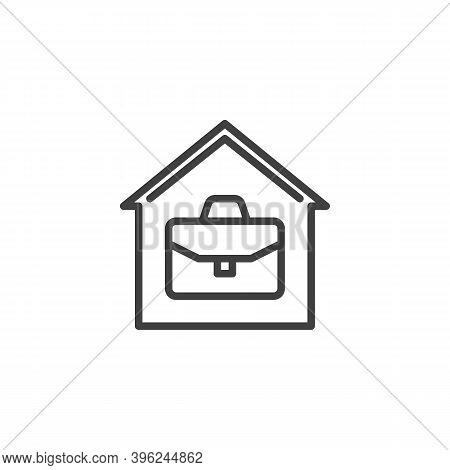 Home Office Line Icon. House With Briefcase Linear Style Sign For Mobile Concept And Web Design. Wor