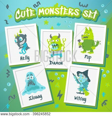 Monster Doodle Character Set. Hand Drawn Vector Illustration With Beast, Wolf, Devil, Witch. Mystery