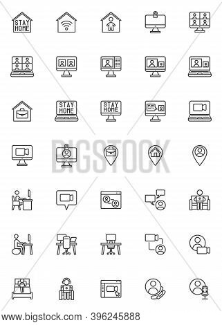 Working At Home Line Icons Set. Linear Style Symbols Collection, Outline Signs Pack. Vector Graphics