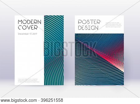 Minimal Cover Design Template Set. Red Abstract Lines On White Blue Background. Decent Cover Design.