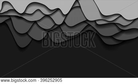Dark grey liquid waves corporate abstract motion background. Seamless loop. Video animation Ultra HD 4K 3840x2160