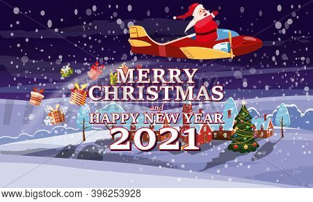 Santa Claus Van With Text Merry Chrismas And Happy New Year 2021 Flying In Plane On Night Winter Tow