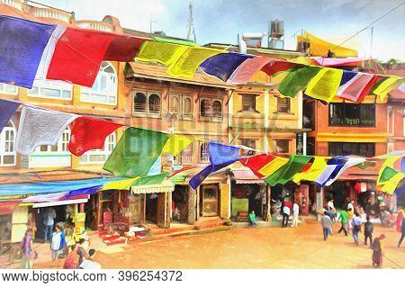 Old Houses Near Boudhanath Stupa Colorful Painting Looks Like Picture, Kathmandu, Nepal.