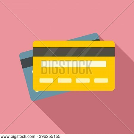 Credit Bank Cards Icon. Flat Illustration Of Credit Bank Cards Vector Icon For Web Design