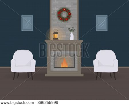 Christmas Eve Or Noel. Cute Living Room With Fireplace. Cozy Interior With Furniture And Pictures.be