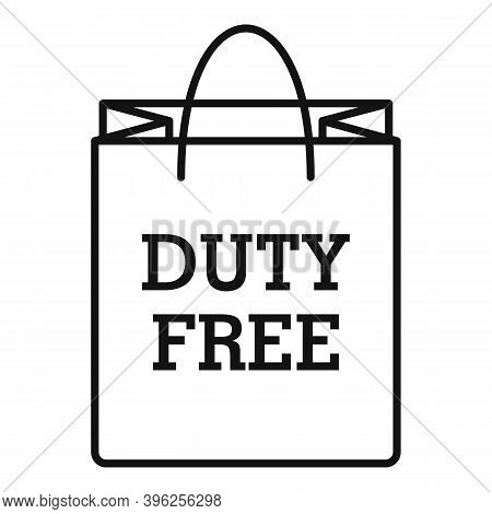 Duty Free Paper Bag Icon. Outline Duty Free Paper Bag Vector Icon For Web Design Isolated On White B