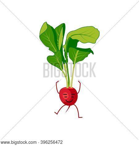 Cute Radish Cartoon Character. Kawaii Vitamin Root Vegetable With Funny Face, Arms And Legs. Natural