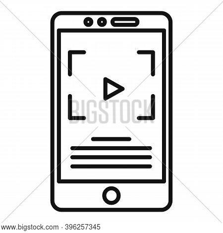 Smartphone Screen Recording Icon. Outline Smartphone Screen Recording Vector Icon For Web Design Iso
