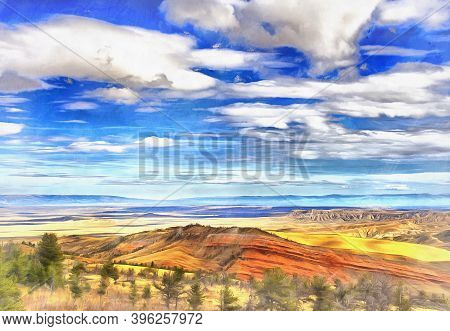 Beautiful Landscape At Wyoming Colorful Painting Looks Like Picture, Usa.