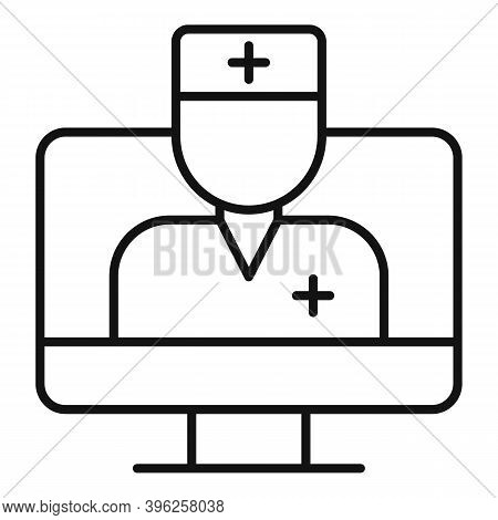 Online Speech Therapist Icon. Outline Online Speech Therapist Vector Icon For Web Design Isolated On