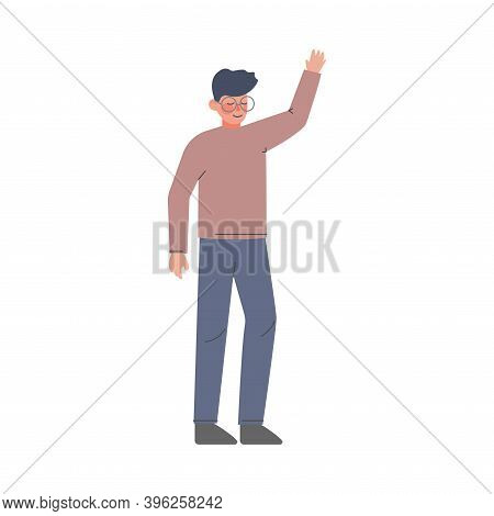 Man Standing With Raised Hand, Guy Volunteering, Voting, Freedom Of Choice Concept Cartoon Style Vec
