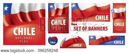 Vector Set Of Banners With The National Flag Of The Chile