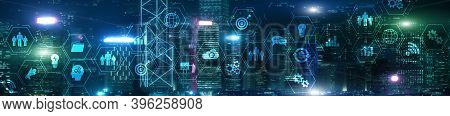 Erp Enterprise Resource Planning System On Virtual Screen With Connections Between Business Intellig