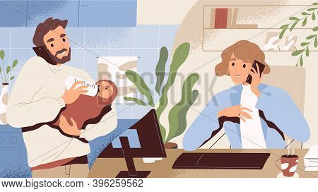 Concept Of Paternity Leave Instead Of Maternity One. Young Man On Call With Wife Working At Office.