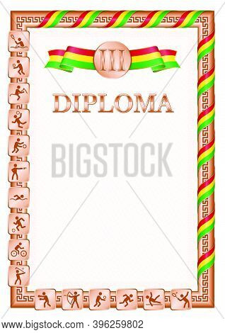 Vertical Diploma For Third Place In A Sports Competition, Bronze Color With A Ribbon The Color Of Th