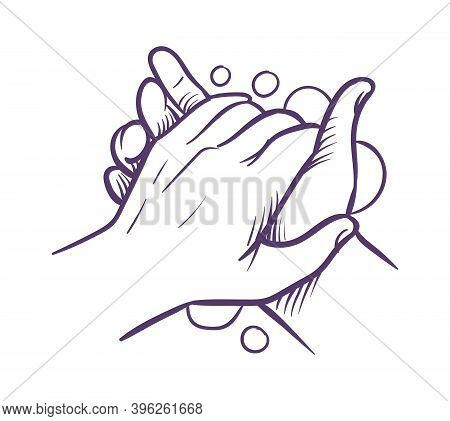 Hand Washing. Blue Hands With Foam Bubbles In Sketch Style To Prevent Virus And Bacteria, Antibacter