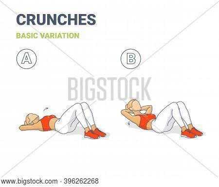 Crunch Female Home Workout Exercise Guide Illustration Colorful Concept.