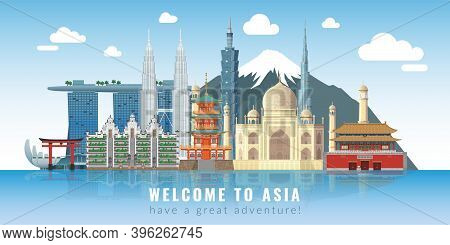 Asia Skyline. Travel Landmarks Panoramic Poster With Text, Historical Cultural Buildings And Constru