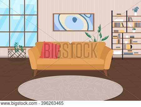 Trendy Living Room Flat Color Vector Illustration. Home Furniture. Couch For Relaxation. Modern Sofa