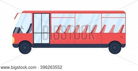 Red Empty Bus Flat Color Vector Object. Truck For Driving Passengers. City Transit. Town Infrastruct