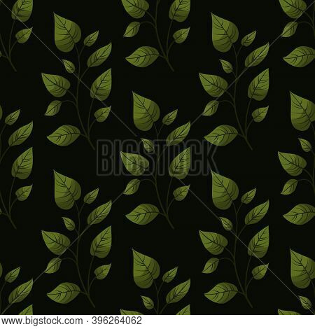 Vector Seamless Pattern With Green Foliate Twigs On Black Background.