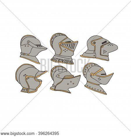 Knight Helmets Set. Vector Collection Of Knights Armor Equipment. Chivalry And Crusade Concept. Warr