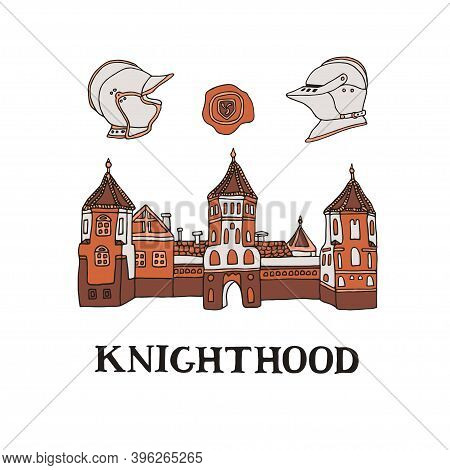 Medieval Castle Illustration With Knight Helmets And Wax Seal Stamp In Hand Drawn Style. Mansion Vin