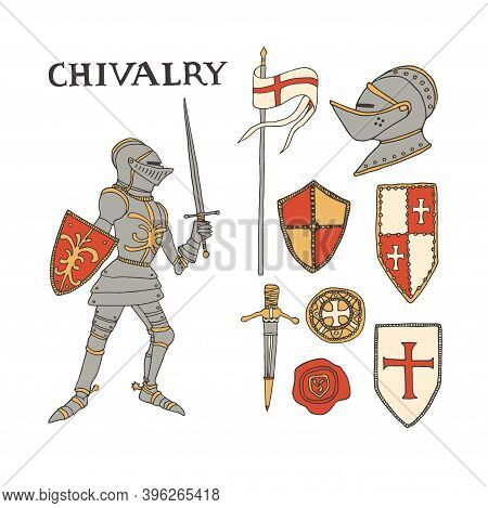 Medieval Knight With A Sword And Shield. Knights Armor Equipment Set Including Helmet, Flag, Shields