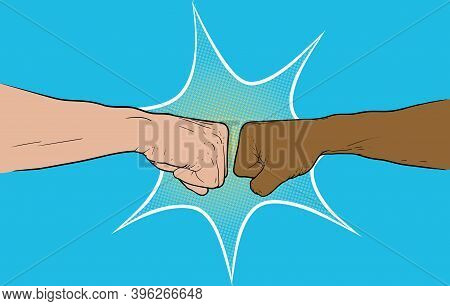Greeting With Clenched Fists Bump And Dark Hand Punch