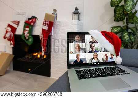 Christmas Day Virtual Meeting Team Teleworking. Family Video Call Remote Conference. Laptop Webcam S