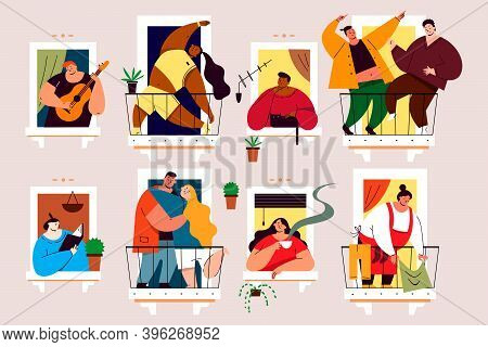 Coronavirus, Social Isolation, Quarantine Concept. Men Women Characters Relax Dancing Playing Musica