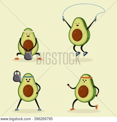 Avocado Doing Sport. Cute Cartoon Avocado Character Illustration Set. Funny Avocado Jogging And Lift