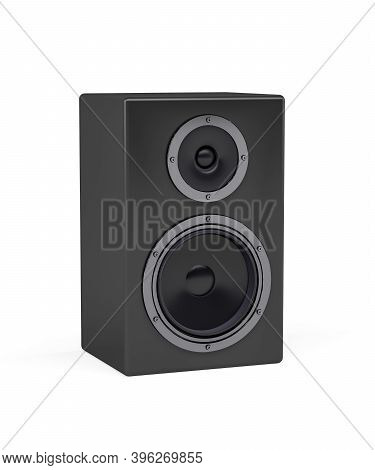 Black Loudspeaker With Wooden Housing On White Background - 3d Render