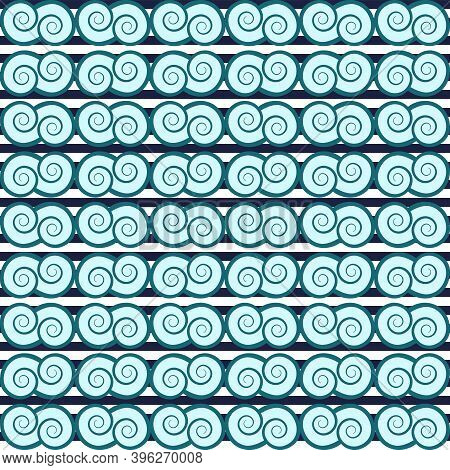 Blue Waves Striped, Curl, Spiral, Swirl, Abstract Ornament Seamless Pattern, Graphic Nautical Tracer