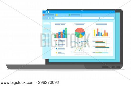 Table Software Computer Screen With Financial Accounting Data, Database Analytical Business Report.